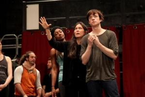 Director Diane Paulus directs Matthew James Thomas while Patina Miller looks on