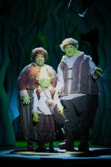 """...And so the little orgre went off and found a muddy patch of swamp land, far, far away."" (Emilie Lafontaine is Little Shrek; Amber J. Snead & Michael Cavinder are Mama & Papa Ogre)"
