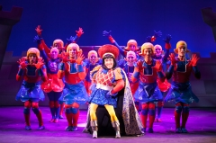 """Welcome to Duloc--such a perfect town."" (David F.M. Vaughn as Farquaad and his 'perfect' citizens)"