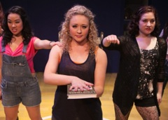 Lysistrata (Devon Hadsell) flanked by Lampito (Klarissa Mesee) L and Robin (Ashley Arlene Nelson) R vow to stop 'giving it up""