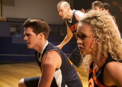 "Mick (J.D. Driskill) & Cinesias (Jackson Tobiska) are cheered on by ""Lyssie  J."" (Devon Hadsell)"