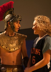 Lysistrata (Devon Hadsell) finds and unexpected ally in Xander, the team mascot (Robert Wallace)