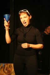 """I'd like to propose a toast. Let see what would happen if you Shut Up!"" (Christina Morrell is ""Abby"")"