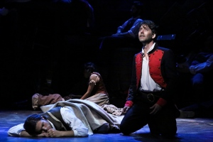 """Bring him peace, bring him joy...he is young, he is only a boy"" Valjean prays for Marius at the Barricade"