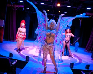 """""""You Can Sacrifice Your Sacro, Workin' To The Back Row""""  Fiona Wynder  Is """"Mazeppa"""" Flanked By Carmen Tunis As Tessie Tura & Margie Ikerd As Electra"""