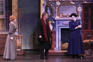 """Each virtue virtually knows no bound; each trait is great and patently sound!"" (Brandi Burkhardt as ""Mary Poppins"" advises Shannon Warne as ""Mrs. Banks"" & Martin Kildare as ""Mr. Banks"" that she's ""Practically Perfect In Every Way"".)"