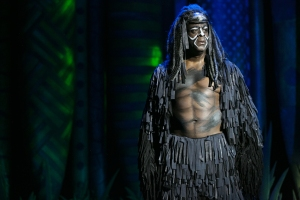 """No turning back! What's done is done--I have SEEN what they can do!"" Marc Cedric Smith as ""Kerchak"" fumes over what to do about young ""Tarzan"""