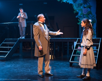 """""""She needs a home--the only thing she really needs I cannot give. Instead she asks a bit of earth, to make it live!"""" Duane Thomas as """"Uncle Archibald"""" meets Sophia Scarsi as his niece """"Mary"""" while Chris Peduzzi as his brother """"Neville"""" looks on."""