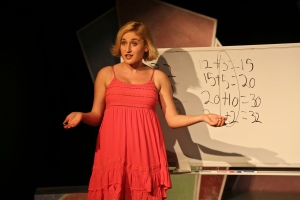 """When things don't work out you wanna stand and scream and say 'Enough's Enough! Every day's a dilemma--how can you make it through?!"" Sami Staitman as ""Molly"" tries her hand at explaining ""Common-Core Math"""
