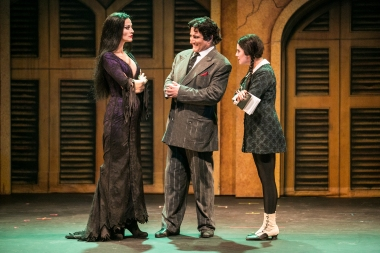 """There are three things I would never do: Lie to my wife, Lie to my daughter (or tell the truth to either one!)"" Bronson Pincho as ""Gomez"" is caught between Rachel York as his wife ""Morticia"" and Michaela Martinez as his daughter ""Wednesday"")"