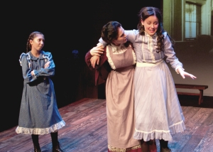 """Disgracefully and shamefully DRUNK!"" (--on 'Raspberry Cordial' aka 'Currant Wine'!) Rachel Oliveros Catalano as ""Mrs. Barry"" finds Nicole Schlitt as her daughter ""Diana"" not too steady on her feet while Abby Lutes as ""Minnie May Barry"" enjoys every minute of it."