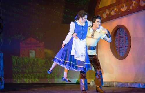 """So Belle, what would it be? Is it 'yes', or is it 'OH, YES!!!'?"" Cameron Bond as ""Gaston"" tries sweeping Afton Quast as ""Belle"" literally off her feet!"