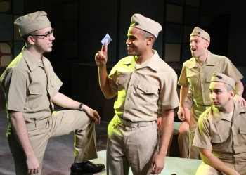 """Some kinda time—livin' it large, makin' noise, 'cause the boys are now in charge!"" Platoon-mates Jonathan Rosario as ""Bernstein"", John Wells III as ""Fector"", James McHale as ""Boland"" and Andrew Puente as ""Eddie"" are ""Goin' all in, throwin' a 'Dogfight'!"""