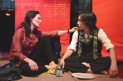 "Alexa Hamilton as ""Jules Davis"" meets with old friend Takuma Anzai as ""Ken Ozawa"" at the start of Robert Allan Ackerman's new play, ""Blood"""