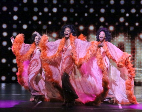 """One night only! One night only! There's nothing more to say…One night only, times getting away!"" ""The Dreams"" (Brittney Johnson as ""Lorrell"", Jasmin Richardson as ""Deena"" and Danielle Truitt as ""Michelle"") perform their disco-mega hit in ""The La Mirada Theatre For The Performing Art's"" ""DREAMGIRLS"""