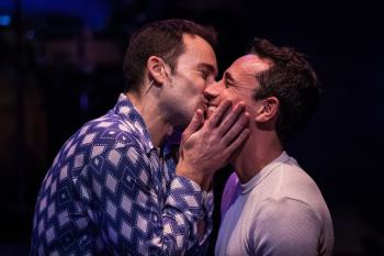 """If you were wondering who I love, I love you 'cause that's all I have to do…'cause I'm a man just like any other man--unlike any other man."" Andrew Bongiorno as ""Peter Allen"" shares an intimate moment with Michael Mittman as ""Greg Connell"" in the ""Celebration Theatre's"" West Coast premiere of ""The Boy From OZ"""