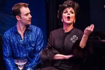 """""""You'll find that what you really wanted and what you end up getting, you never really wanted at all!"""" Bess Motta as """"Judy Garland"""" warns Andrew Bongiorno as """"Peter Allen"""" about the hazards of wishing too hard for success in the """"Celebration Theatre's"""" West Coast premiere of """"The Boy From OZ"""""""
