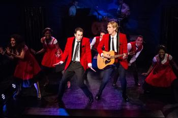 """""""Listen to the music in your voice—you can hear the music everywhere. Catch the melody above the noise, you can feel it pulsing through the air..."""" """"The Allen Brothers"""" Andrew Bongiorno as """"Peter Allen"""" and Marcus S. Daniel as """"Chris Bell"""" make their big TV debut on """"Australian Bandstand"""" in the """"Celebration Theatre's"""" West Coast premiere of """"The Boy From OZ"""""""