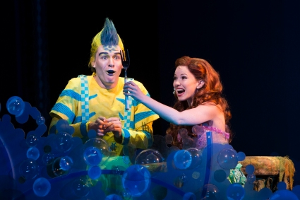 """Look at this trove--Treasures untold! How many wonders can one cavern hold?"" Alison Woods as ""Ariel"" and Adam Garst as ""Flounder"" marvel at her collection of 'sunken treasures' in ""The La Mirada Theatre For The Performing Arts"" & McCoy-Rigby Entertainment's Production Of Disney's ""The Little Mermaid"""