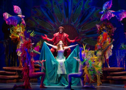 """Just look at the world around you: right here on the ocean floor--such wonderful things surround you. What more are you looking for?"" Melvin Abston as ""Sebastian"" tries to convince Alison Woods as ""Ariel"" of the wonders of living ""Under The Sea"" along with the company of ""The La Mirada Theatre For The Performing Arts"" & McCoy-Rigby Entertainment's Production Of Disney's ""The Little Mermaid """