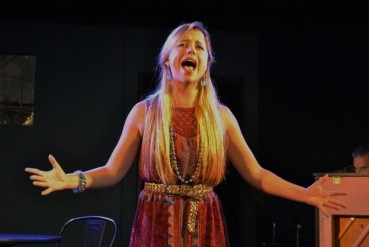 """""""I'm not afraid of anything--be it mountains, water, dragons, dark or sky; I'm not afraid of anything! Tell me: where's the challenge if you never try?"""" Bailey Humiston as """"Woman 1"""" celebrates her dauntlessness in The Chromolume Theatre's """"Songs For A New World"""""""