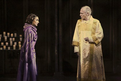 """God loves even a monster…"" Mark Jacoby as ""Arch Deacon Frollo"" confronts Cassie Simone as ""Esmeralda"" regarding her 'presence' inside the cathedral in ""The La Mirada Theatre For The Performing Arts"" & ""McCoy-Rigby Entertainment's"" production of ""The Hunchback Of Notre Dame"""