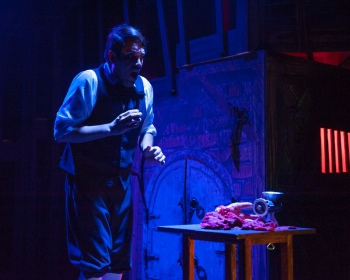 """No! OH NOOO!!! Mrs. Lovett! Mrs. Lovett! Let me out! LET ME OUT!!!"" Danny Diaz as ""Tobias Ragg"" makes a horrifying discovery in the basement of Mrs. Lovett's Pie Shop in ""One More Production' ""Sweeney Todd, The Demon Barber Of Fleet Street"""