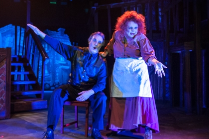 """We'll serve anyone,meaning anyone--and TO anyone at all!"" David Stoneman as ""Sweeney Todd"" and Beth Hansen as ""Mrs. Lovett"" devise their unsavory plan for success in ""One More Productions' ""Sweeney Todd, The Demon Barber Of Fleet Street"""