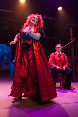 """A seaside wedding could be devised, my rumpled bedding 'legitimized'; me eyelids'll flutter, I'll turn into butter, the moment I mutter 'I Do'!"" Beth Hansen as ""Mrs. Lovett"" dreams of life ""Down By The Sea"" with David Stoneman as ""Sweeney Todd"" in ""One More Production' ""Sweeney Todd, The Demon Barber Of Fleet Street"""