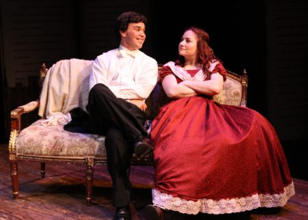 """Dance with me tonight and I guarantee by next spring every girl in Concord will be wearing a patch on their dress!"" Jimmy Saiz as ""Laurie"" urges Ashley Arlene Nelson as ""Jo"" to ""Take A Chance On Me"" in The Chance Theater's ""Little Women—The Broadway Musical"""