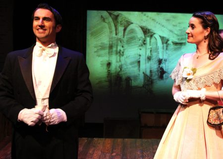 """I swear to you now with all of my heart, I swear I will love you as you love me; from this moment on, though we'll be apart, I will be more, More Than I am!"" Stefan Miller as ""John Brooke"" asks Laura M. Hathaway as ""Meg"" for her hand in marriage in The Chance Theater's ""Little Women—The Broadway Musical"""