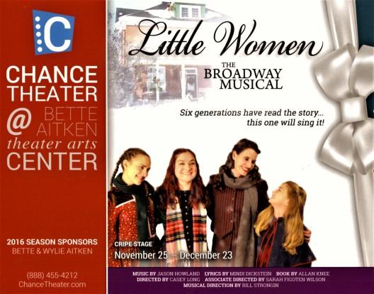"""The Chance Theater"" at ""The Bette Aitken Theater Arts Center"" in Anaheim CA. Presents ""Little Women—The Broadway Musical"", December 3rd—December 23rd, 2016 http://www.ChanceTheater.com"