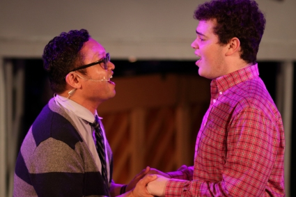 """""""Do you know what it's like to be in love with you? Not to remember what my life was like before I first met you?"""" Everjohn Feliciano as """"Mike"""" tries desperately to understand what Jacob Zelonky as his 'Boyfriend' """"Steve"""" is going though in """"The Chromolume Theatre's"""" production of """"Zanna, Don't!"""""""