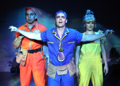 """""""It's hard not to be impressed, he's my bro and he's the best!"""" Andrew Puente is """"Luis"""", Beau Brians is his 'Super' brother """"Claudio"""", and Monika Pena is """"Princess Fish"""" in """"The Chance Theater's"""" production of """"Claudio Quest"""""""