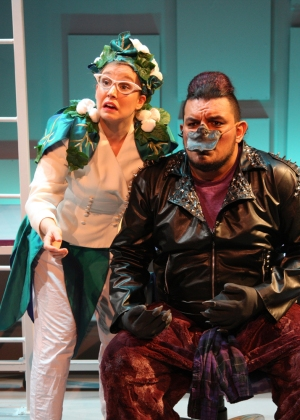"""""""Don't be a 'Platy-pussy! Tell her how you feel!"""" Kellie Spill as """"Bruiser's"""" 'Therapist' """"Elgafink"""" counsels Miguel Cardenas as """"Bruiser"""" on how to please a Princess in """"The Chance Theater's"""" production of """"Claudio Quest"""""""